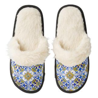 Seamless Azulejo Art Tile Pair Of Fuzzy Slippers