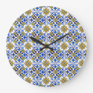Seamless Azulejo Panel Tiles Large Clock