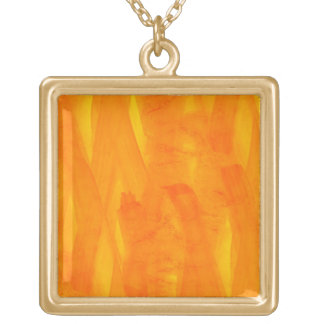 Seamless Background Yellow Abstract Watercolor Square Pendant Necklace