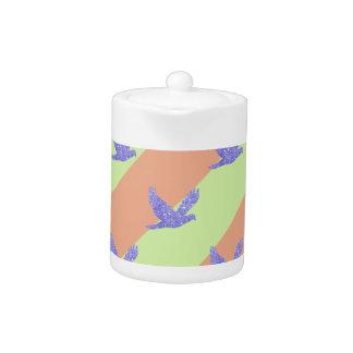 Seamless Bird and Stripes Pattern Teapot