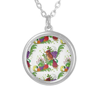 Seamless bird round pendant necklace