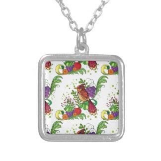 Seamless bird square pendant necklace