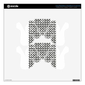 Seamless Black and White Abstract Modern Circles PS3 Controller Skins