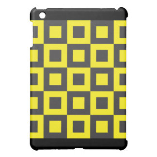 seamless black and yellow squares in squares case for the iPad mini