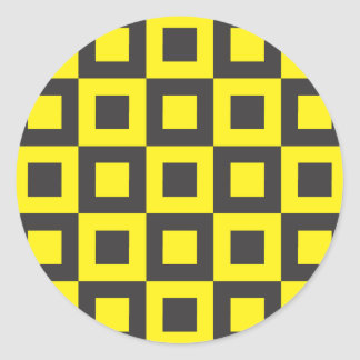 seamless black and yellow squares in squares classic round sticker