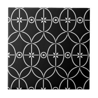 seamless black floral ornament tile