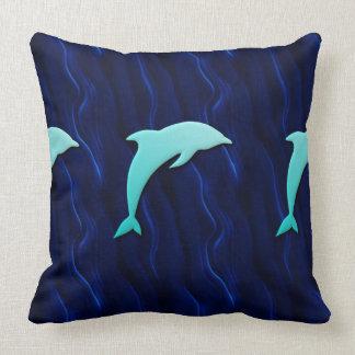 Seamless Blue Dolphin On a Deep Water Blue Throw Pillow