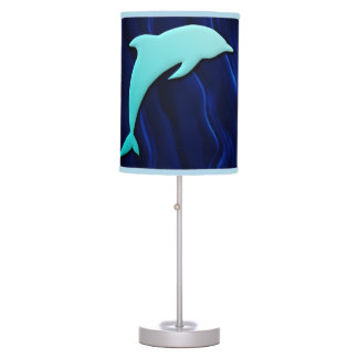 Seamless Blue Dolphin On Deep Water Blue Lamps