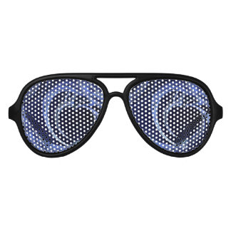 Seamless Blue Fractal Aviator Sunglasses