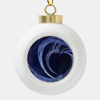 Seamless Blue Fractal Ceramic Ball Christmas Ornament
