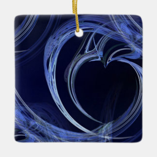 Seamless Blue Fractal Ceramic Ornament