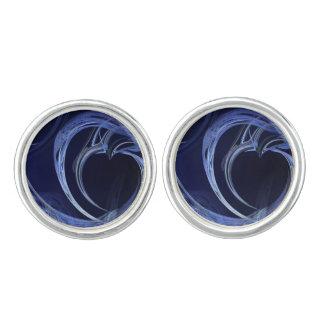 Seamless Blue Fractal Cufflinks