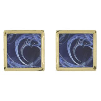 Seamless Blue Fractal Gold Cufflinks