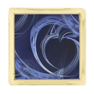 Seamless Blue Fractal Gold Finish Lapel Pin