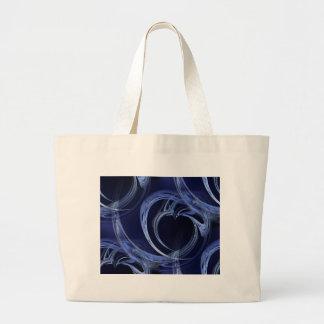 Seamless Blue Fractal Large Tote Bag