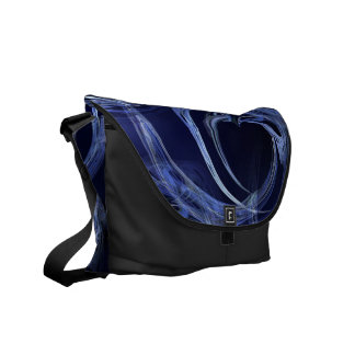Seamless Blue Fractal Messenger Bag
