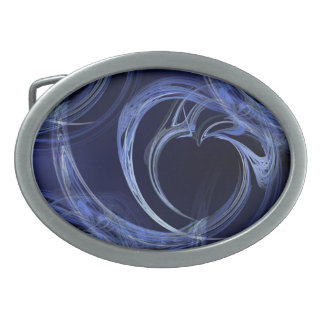 Seamless Blue Fractal Oval Belt Buckle