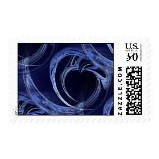 Seamless Blue Fractal Postage