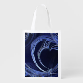 Seamless Blue Fractal Reusable Grocery Bag