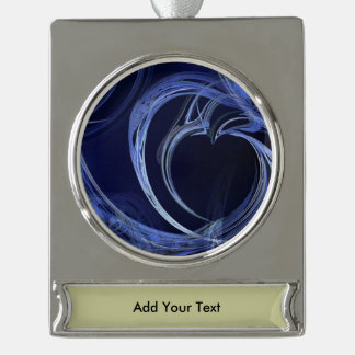 Seamless Blue Fractal Silver Plated Banner Ornament