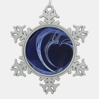 Seamless Blue Fractal Snowflake Pewter Christmas Ornament