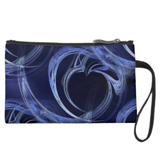 Seamless Blue Fractal Suede Wristlet Wallet