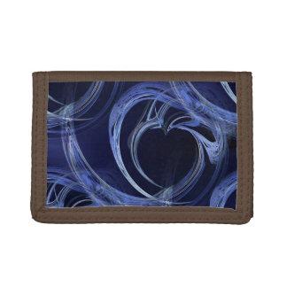 Seamless Blue Fractal Tri-fold Wallets