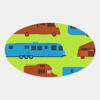 Seamless Caravan Pattern Oval Sticker