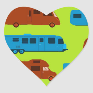 Seamless Caravan Pattern Heart Sticker