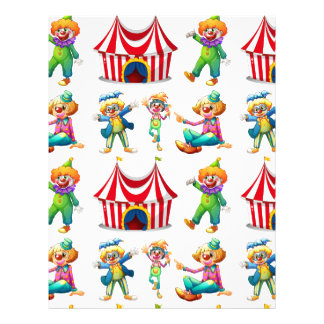 Seamless clowns and circus tent letterhead