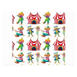 Seamless clowns and circus tent postcard