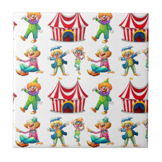 Seamless clowns and circus tent tile