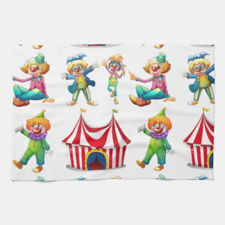 Seamless clowns and circus tent towel