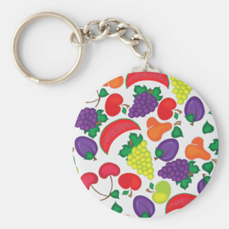 Seamless colorful fruit pattern keychain
