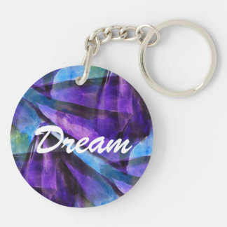 seamless cubism purple, blue abstract art keychain