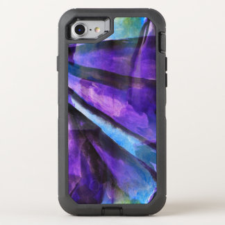 seamless cubism purple, blue abstract art OtterBox defender iPhone 8/7 case