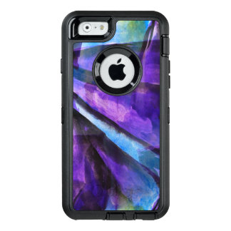 seamless cubism purple, blue abstract art OtterBox defender iPhone case
