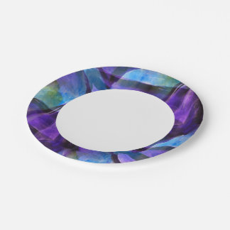 seamless cubism purple, blue abstract art 7 inch paper plate