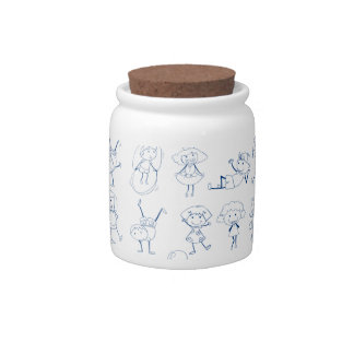 Seamless design of people in blue color candy jars