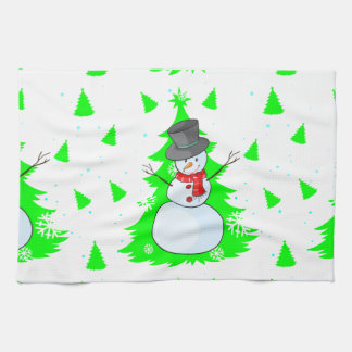 Seamless design with a snowman hand towels