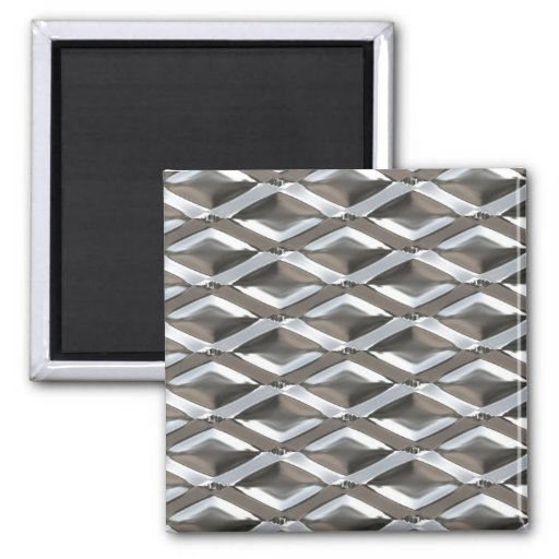 Seamless Diamond Shaped Chrome Plated Metal 2 Inch Square Magnet