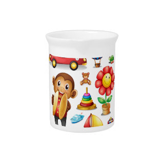 Seamless different kind of toys beverage pitcher