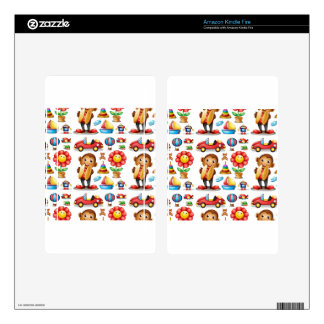 Seamless different kind of toys kindle fire decals