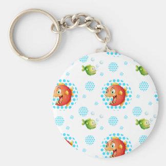 Seamless fish basic round button keychain