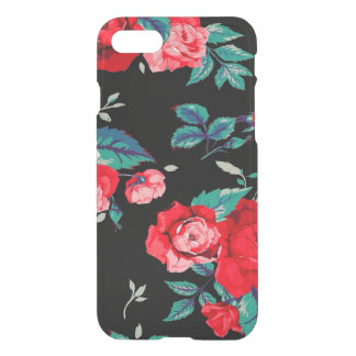 Seamless Floral Pattern With Red Roses Black iPhone 7 Case