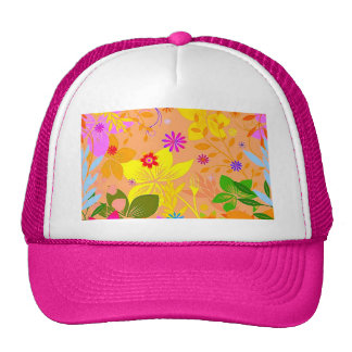 Seamless Floral Vector2 oranges peaches yellows fl Trucker Hats