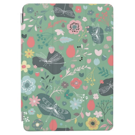 Seamless flower and dragonflies pattern on green iPad air cover