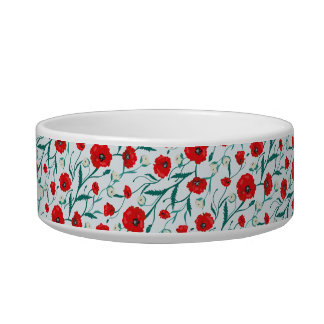 Seamless Flower  Poppies and Roses  Pattern. Summe Bowl