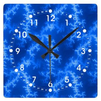 Seamless Fractal Blue Square Wall Clock