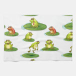 Seamless frogs hand towels